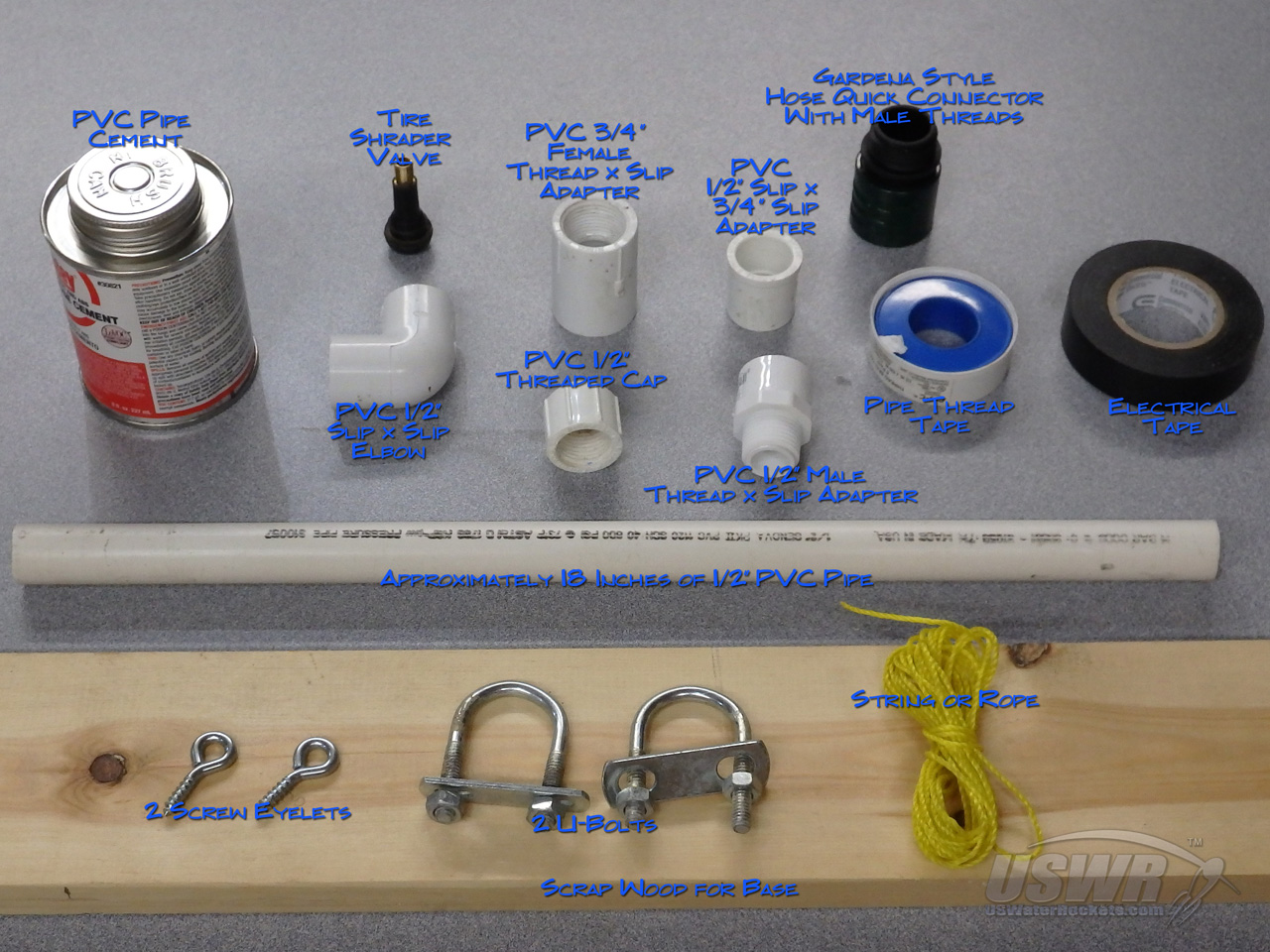 Complete Parts List For The Water Rocket Gardena Launcher