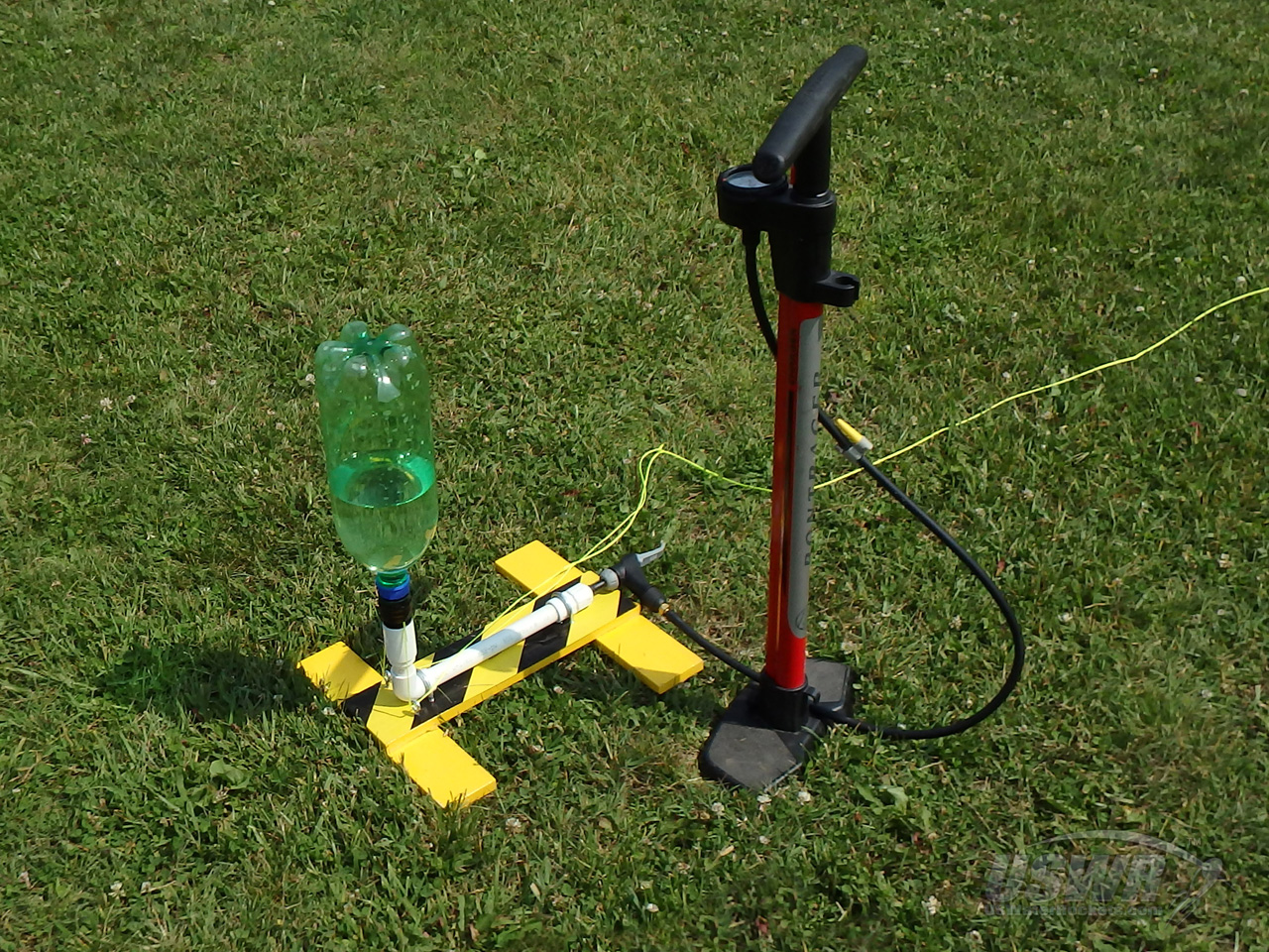 Our Finished Water Rocket Gardena Launcher Loaded With A 2 Liter Soft Drink Bottle